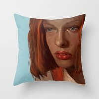 fifth element Throw Pillows featuring leeloo - the fifth element by salem jones