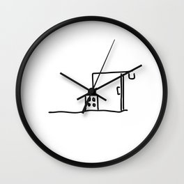 building site with crane building a house Wall Clock