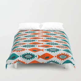 Ethnic pattern with fish Duvet Cover