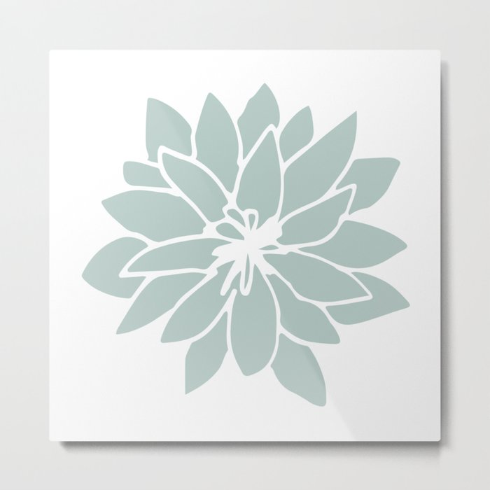 Flower Forest Fern Green on White Metal Print