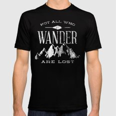 Not All who Wander are Lost MEDIUM Black Mens Fitted Tee