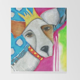 Dog Abstract Original Art Jack Russell Terrier painting The Queen Throw Blanket