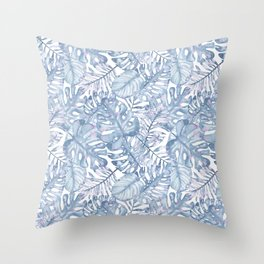 Hand painted pink blue watercolor tropical leaves floral Throw Pillow