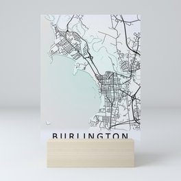 Burlington VT USA White City Map Mini Art Print