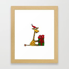 Funny Giraffe with Christmas Package Framed Art Print