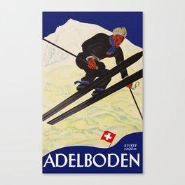 Vintage Adelboden Switzerland - Ski Jump Canvas Print