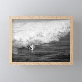 Lone Surfer in Black and White Framed Mini Art Print