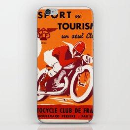 Motorcycle Club de France - Vintage Poster iPhone Skin