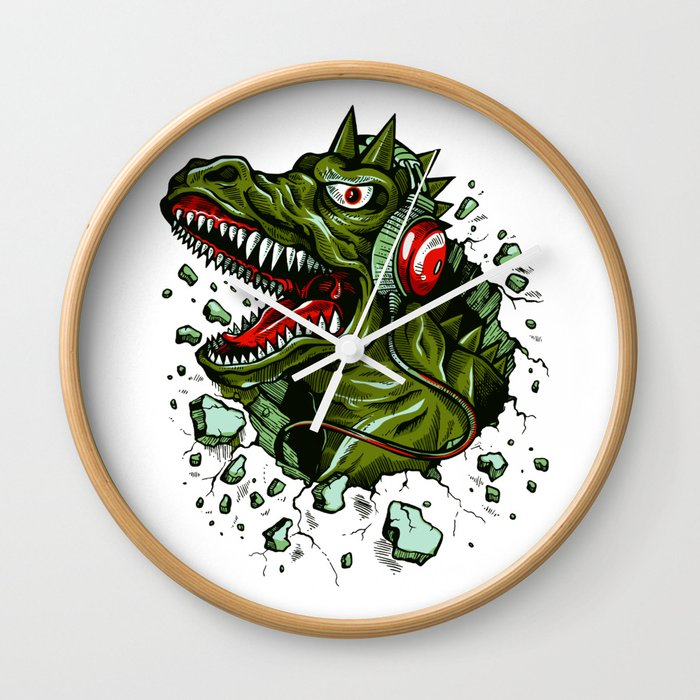 Dino with Headphones Brown Raw Umber Wall Clock