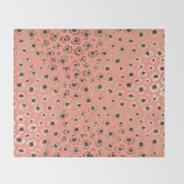 Chic Faux Gold and Black Cheetah Print on Coral Throw Blanket