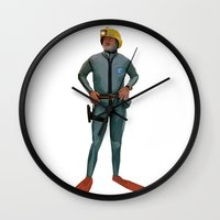 steve zissou Wall Clocks featuring Life Aquatic with Steve Zissou by Gato Feo Designs