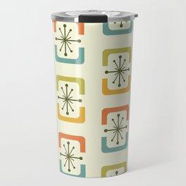 Mid Century Modern Starburst Shells Chartreuse Travel Mug