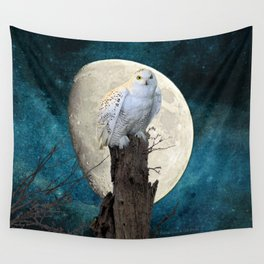 White Snowy Owl Bird Moon Blue A141 Wall Tapestry