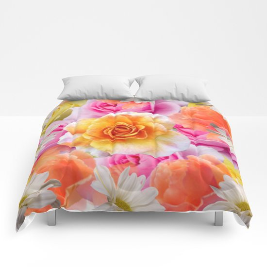 Spring Flowers Galore Absstract Comforters