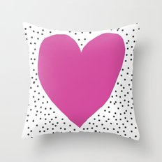 Pink heart with grey dots around Throw Pillow
