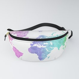 "Rainbow world map in watercolor style ""Jude"" Fanny Pack"