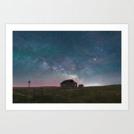 Lonely Barn Under a Starlit Sky Art Print