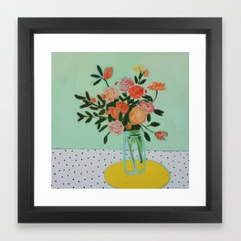 Floral and Dots Framed Art Print