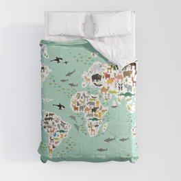 Cartoon animal world map for children, kids, Animals from all over the world, back to school, mint Comforters
