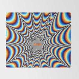 acid funky funny drippy design Throw Blanket
