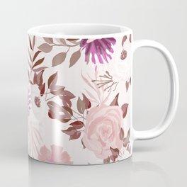 Vintage Pink Flowers Painted Watercolour Garden Pattern Coffee Mug