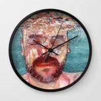 watercolour Wall Clocks featuring Watercolour by Jose Manuel Hortelano-Pi