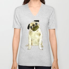 Sitting Pug Unisex V-Neck