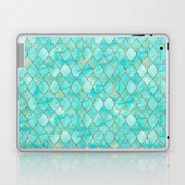 Luxury Aqua Teal and Gold oriental quatrefoil pattern Laptop & iPad Skin