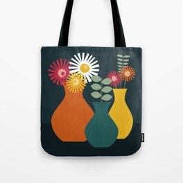 Flower Vases on Dark Background Tote Bag