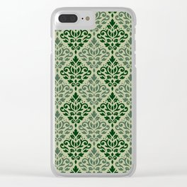 Scroll Damask Pattern Greens Clear iPhone Case
