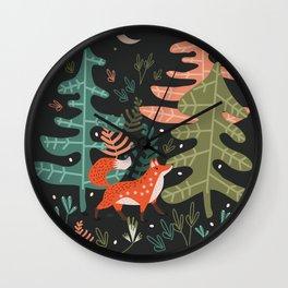 Evergreen Fox Tale Wall Clock