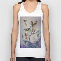 fireflies Tank Tops featuring Girls and Fireflies by SandraSueSteiner