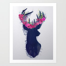 Blue Deer Art Print