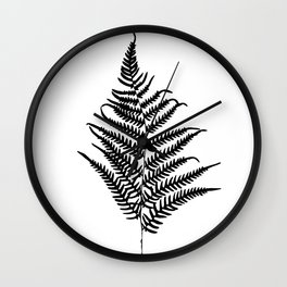 Fern silhouette. Isolated on white background Wall Clock