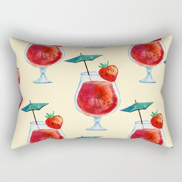 Watercolor fresh cocktail art Rectangular Pillow