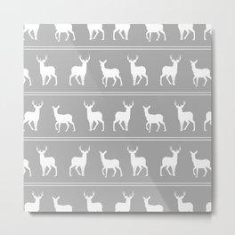 White Deer and Stag pattern on Grey Metal Print