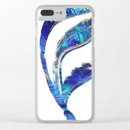 Blue Gray And White Art - Flowing 1 - Sharon Cummings Clear iPhone Case