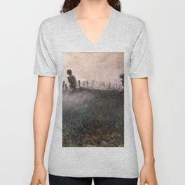 On the Wire War Landscape Painting by Harvey Thomas Dunn Unisex V-Neck