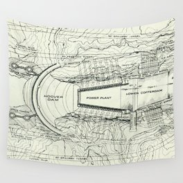Vintage Map of The Hoover Dam (1930) Wall Tapestry
