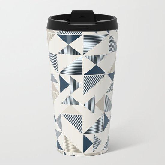Abstract Geometric Triangle Pattern Metal Travel Mug
