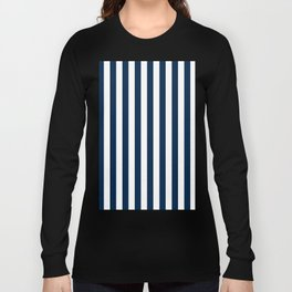 Narrow Vertical Stripes - White and Oxford Blue Long Sleeve T-shirt