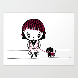 Chibi Girl and Dog in Red and Black Art Print