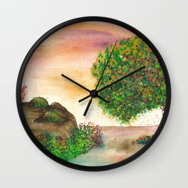 Countryside Watercolor Illustration Wall Clock
