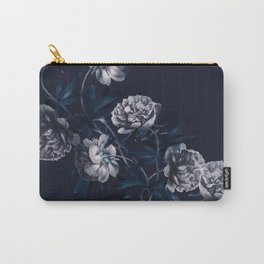 dark paeonias blue floral pattern Carry-All Pouch