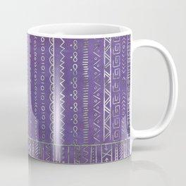Tribal Ethnic pattern silver on  purple Coffee Mug