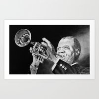louis armstrong Art Prints featuring Louis Armstrong by Nathalief87