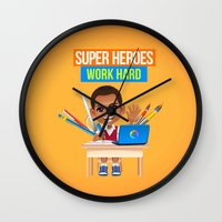 super heroes Wall Clocks featuring Super Heroes Work Hard by youngmindz
