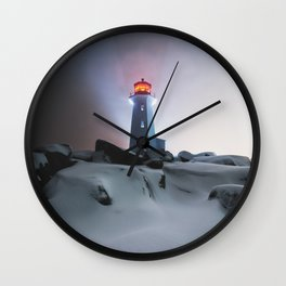 Peggy's in White Wall Clock