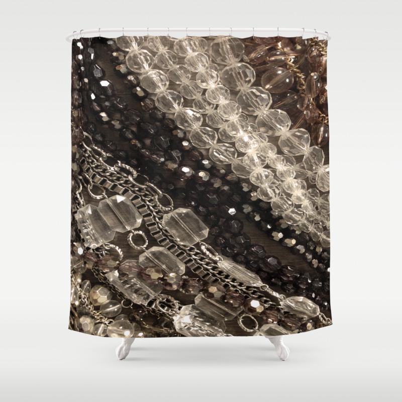 Jewel Glitz Glamor Glam Bling Diamonds Beads Girly Shower Curtain