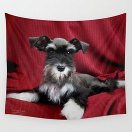 Oreo Schnauzer Puppy Wall Tapestry